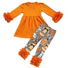 New design Halloween lion print baby clothes Wholesale baby girl long sleeve icing ruffle sets