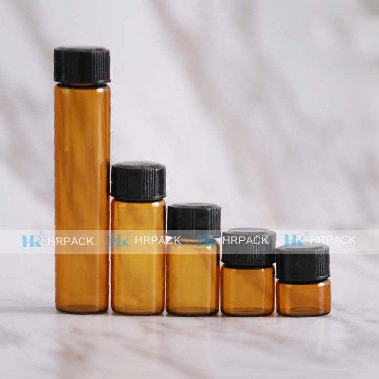 wholesale 10ml 5ml 3ml 2ml 1ml amber glass vial with Inner plug