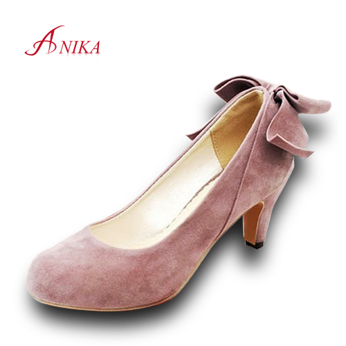 Plus size 2015 Hot Sale Ladies High Heels Round Toe Bowtie Women Pumps Slip-On Spring High Heel Shoes Woman Sapatos Femininos