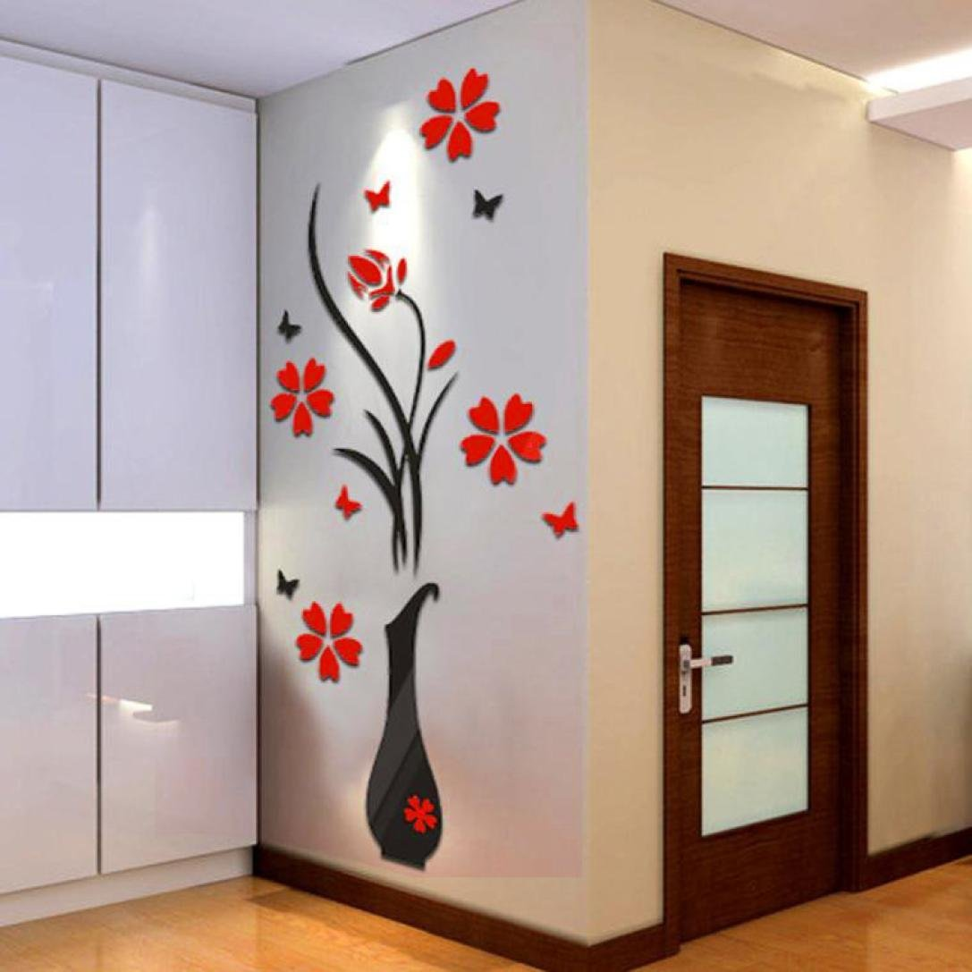 Wall Sticker Home Decor, Rumas DIY Vase Flower Tree Crystal Arcylic 3D Wall Stickers Decal