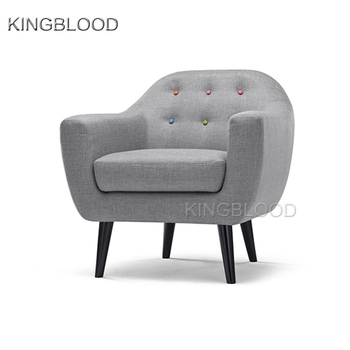 Pearl Grey Lobby Round Sofa Chair Sets With Rainbow Buttons For Living Room