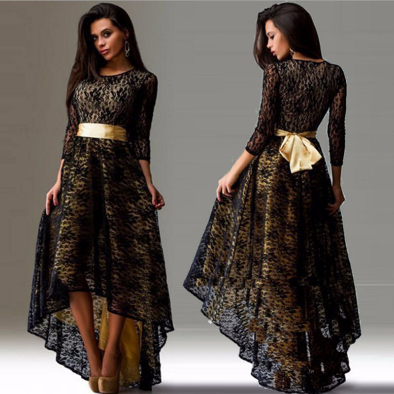 Oem Service Black Party Frocks Belted Crewneck Long Tail ...