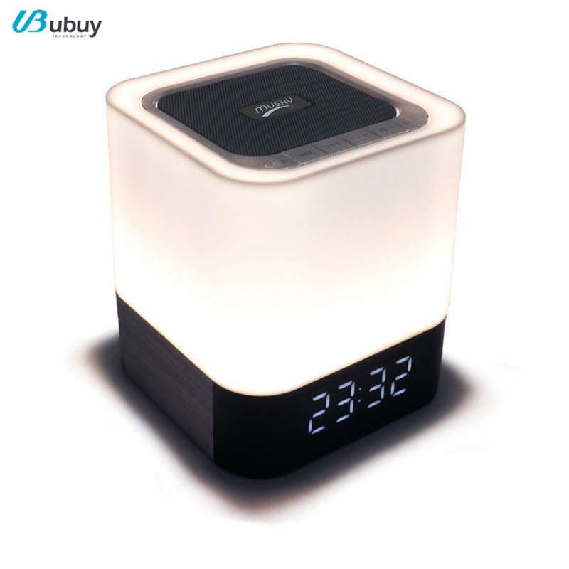 S107 Made In China Touch LED Lamp Portable Bluetooth Speaker With Time Display Alarm Clock And Night Light,V4.0 4000mAh Speaker