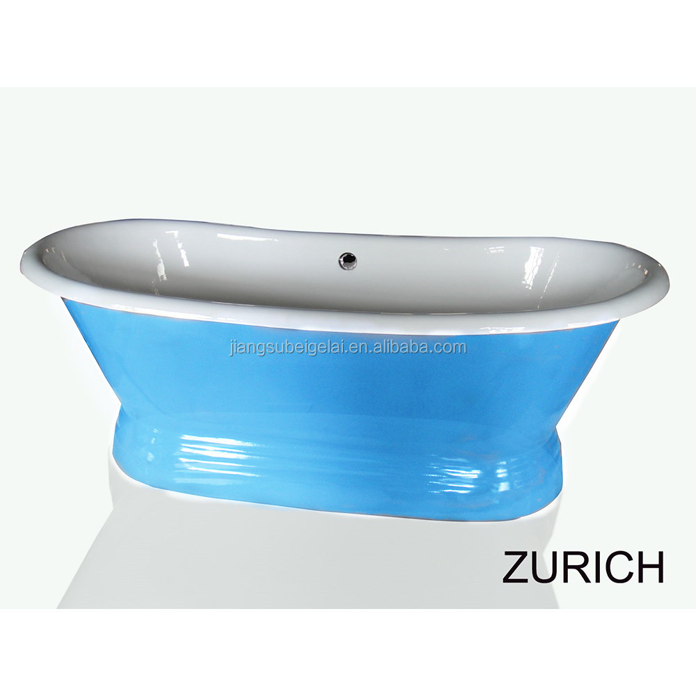 Bathroom Cast Iron Bath Tub With Pedestal With Colored Paint - Buy ...