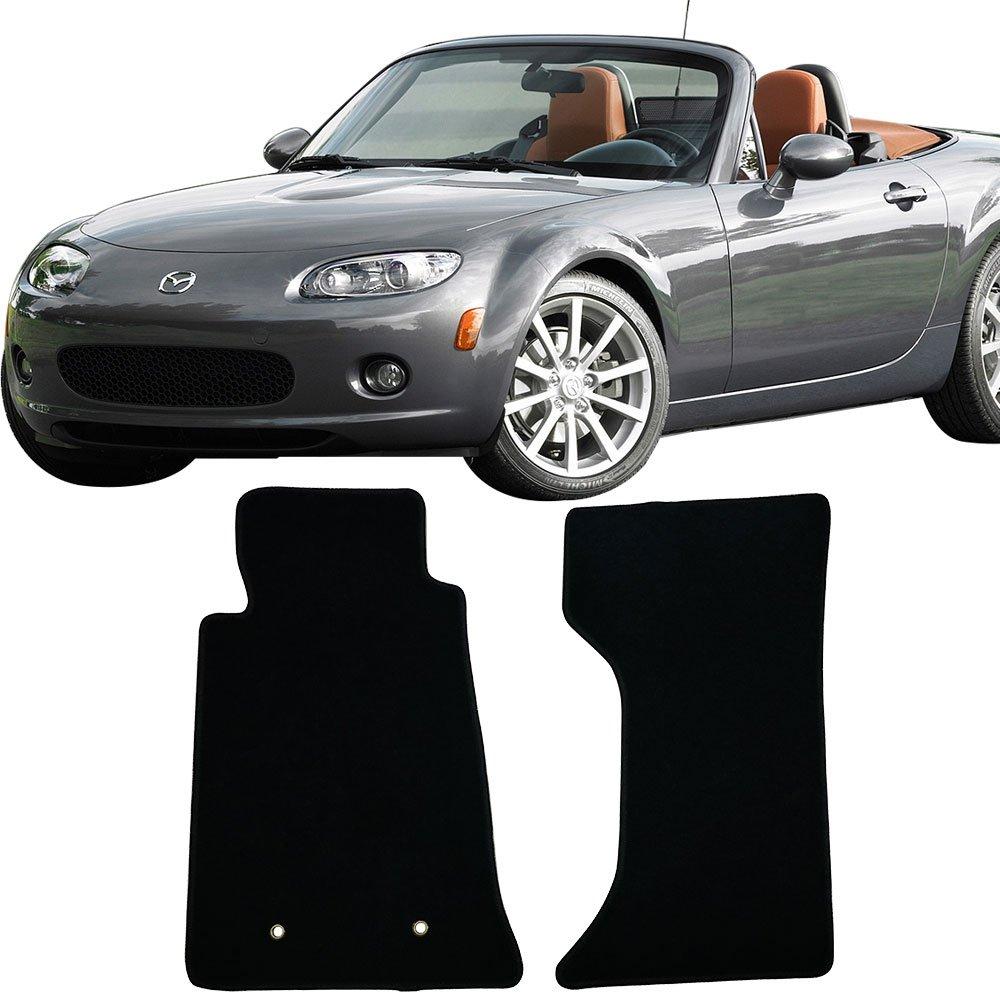 Floor Mat Fits 2006-2015 Mazda Miata MX-5 | OEM Factory Fitment Floor Mats Carpet Front & Rear Black 2PC Nylon by IKON MOTORSPORTS | 2007 2008 2009 2010 2011 2012 2013 2014