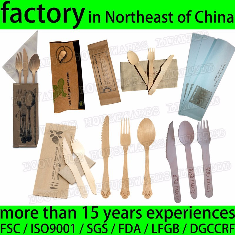 Take Away Restaurant Wooden Cutlery Disposable Knife Fork Spoon Tissue Set