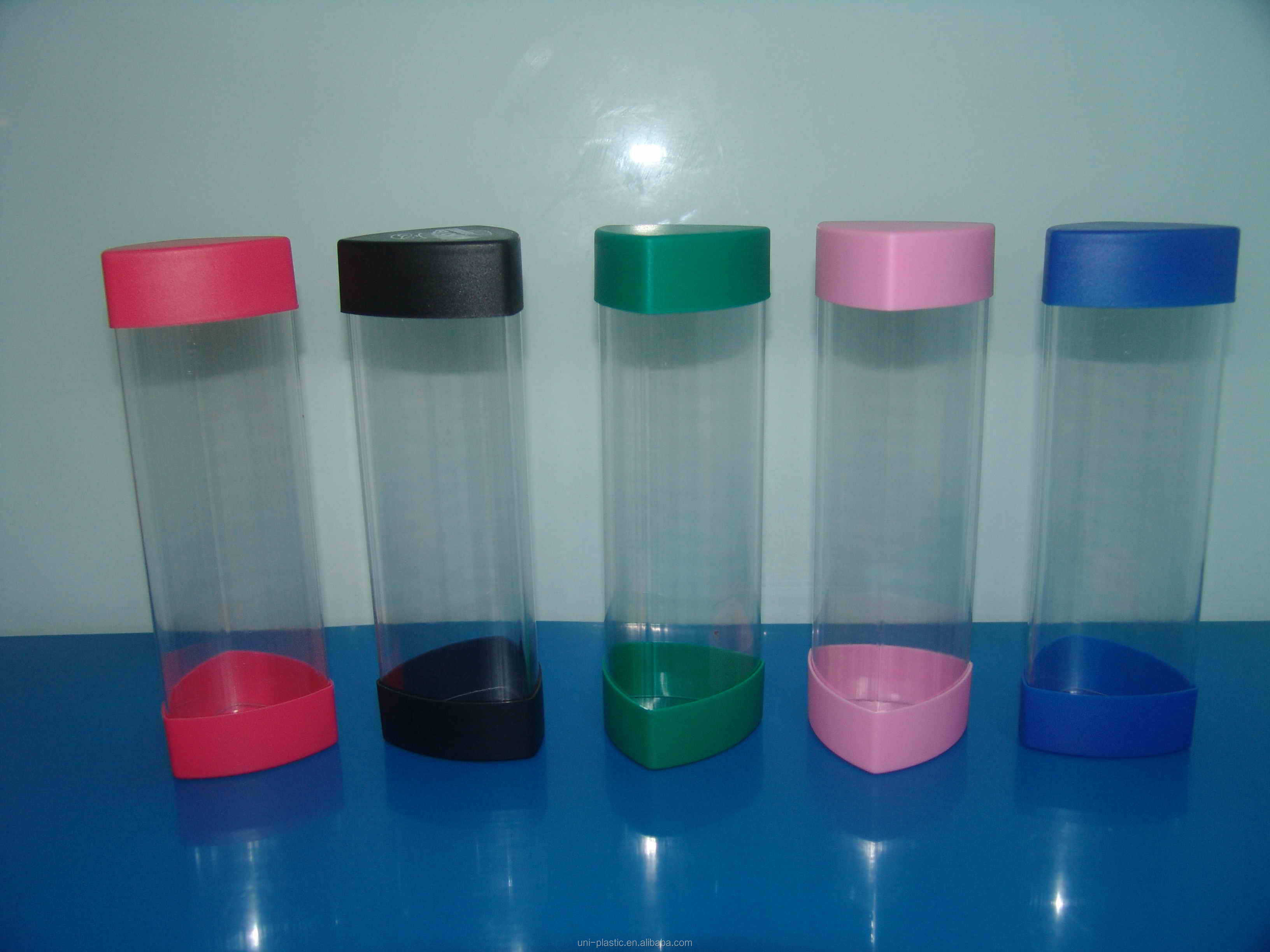 Clear Plastic Triangle Packaging Tube With Colored Caps