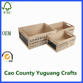 Exceptionnel Decorative Wooden Crates Storage Boxes With Handle And Chalk Board Vintage  Home Decor