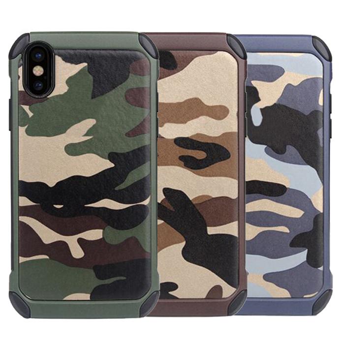 Dupla Camada de Camuflagem Do Exército Do Camo Híbrido Armadura Caso Capa  Para o iphone X 8790706fda3