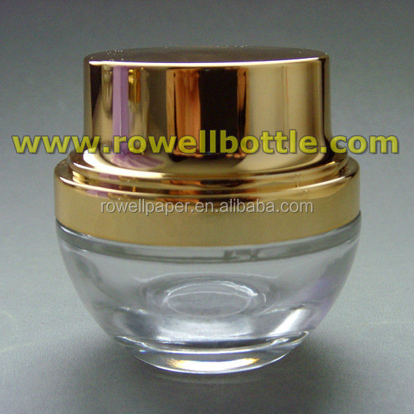 30g cosmetic glass jars with shiny gold dome lids wholesale made in China
