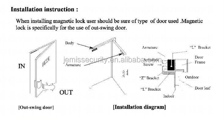 280kg/600lbs Automatic Glass Door Magnetic Door Lock 12v/24v ...