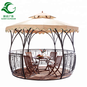 Manufacturer Outdoor Iron Gazebo ,WPC Floor Wrought Beach Canopy 360cm With Fabric Cover