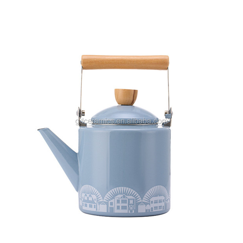 Hot Sale Home Application Drinkware unique enamel tea kettle with wooden handle
