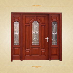 Luxury Style Cherry Glass Inlay Solid Wooden Door