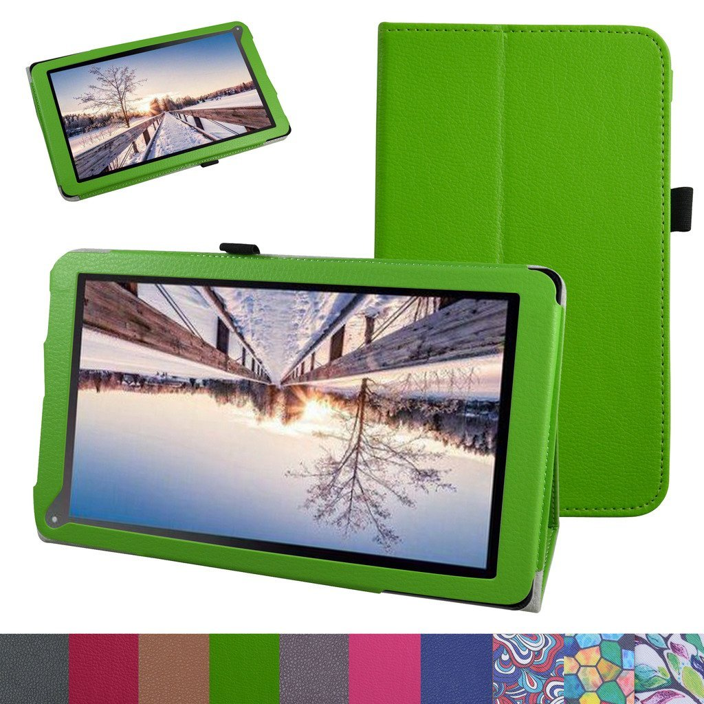 """TG-TEK TGH1051 Case,Mama Mouth PU Leather Folio 2-folding Stand Cover for 10.1"""" TG-TEK TGH1051 Android 5.1 Tablet,Green"""
