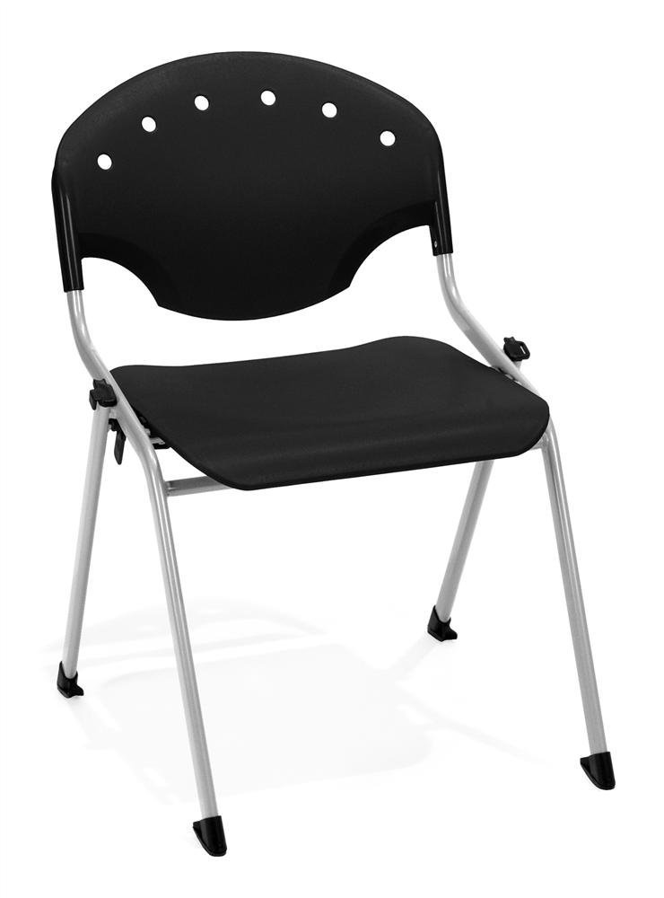 """Rico 17.75"""" Plastic Classroom Glides Chair [Set of 4] Seat Color: Black, Arms: Without Arms"""