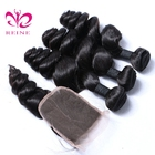 cheap virgin brazilian Loose wave remy hair extension virgin loose wave brazilian human hair weave bundles with lace closure