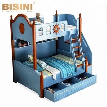 Bisini Color Life Mini Children Kid Bed Furniture Wooden Bunk Bed