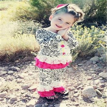 02740ecf0 New Fashion Girls Kids Wear Damask Long Sleeve Top Matching Casual ...