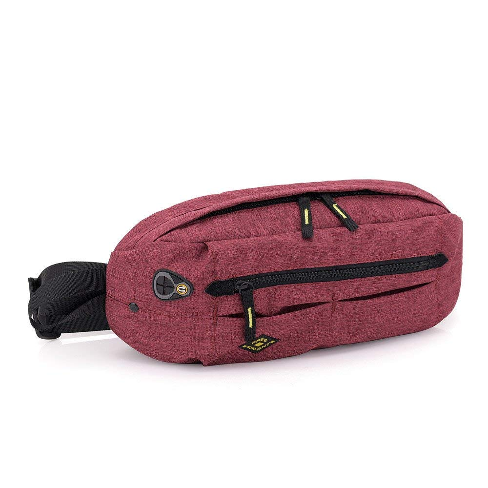 MIYA LTD Waterproof Chest Bag Sling Waist Bag,Anti-theft Messenger Bag Lightweight Crossbody Sports Running Pocket with Earphone Hole Fashion Chest Pack-Red
