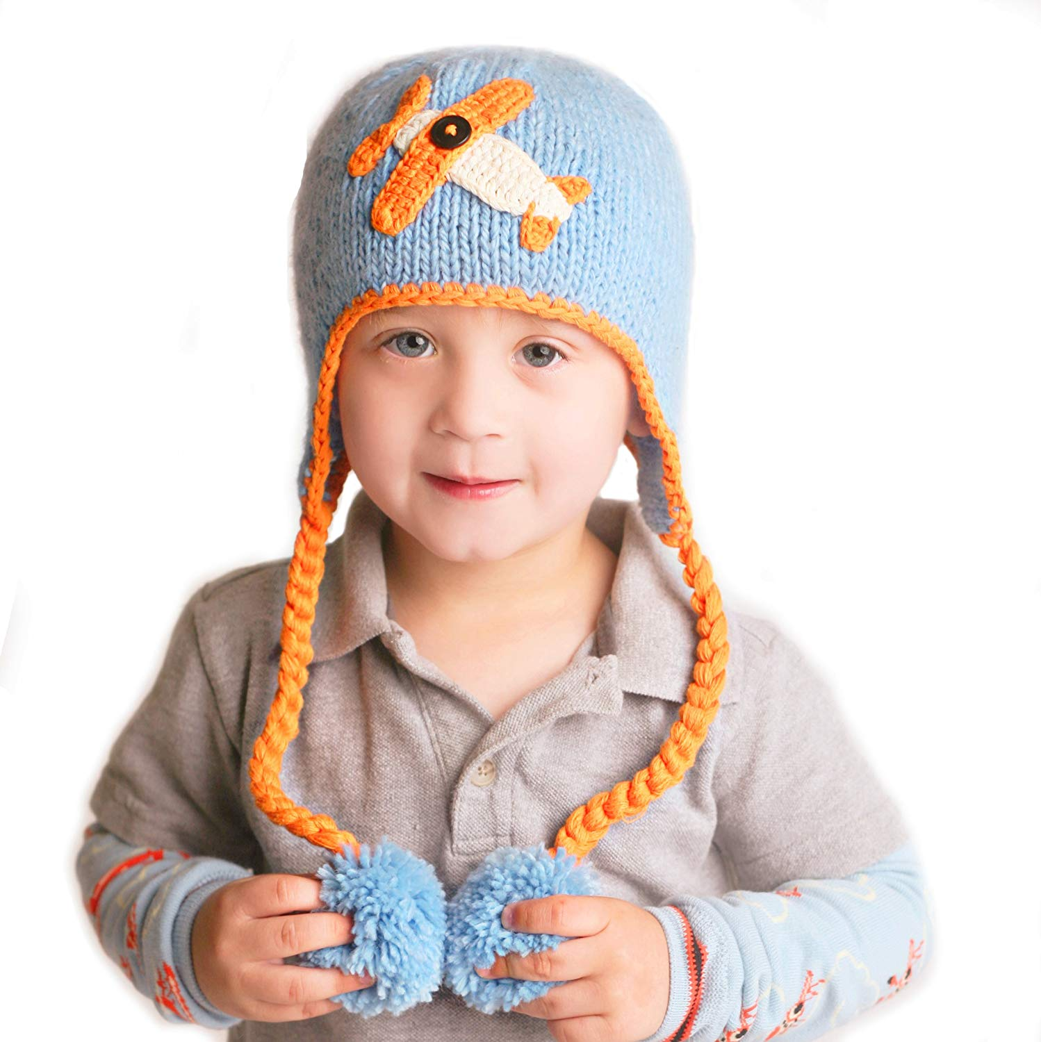 91cf4b7b540 Get Quotations · Huggalugs Baby and Toddler Boys Blue Sky Rider Beanie Hat