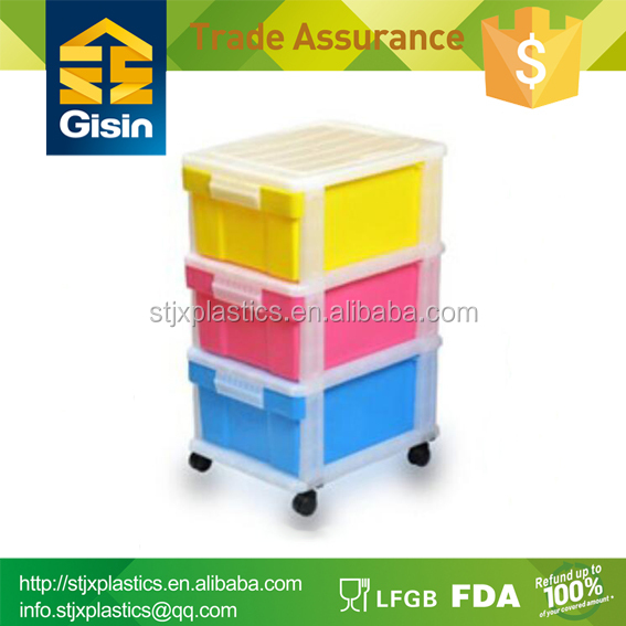 3 tiers mini rolling plastic storage drawers cheap price