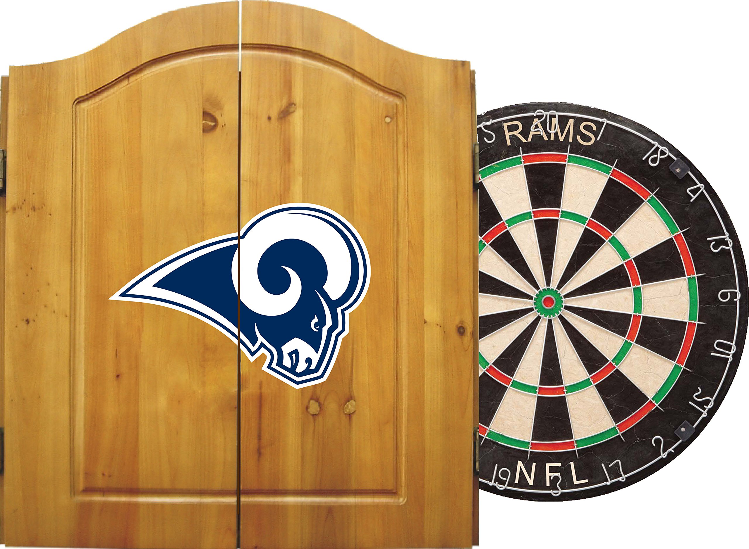 Imperial Officially Licensed NFL Merchandise: Dart Cabinet Set with Steel Tip Bristle Dartboard and Darts, Los Angeles Rams