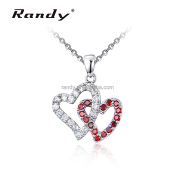 Double Heart Love Photo Frame Jewel Red White Gems Pendant Necklace ...