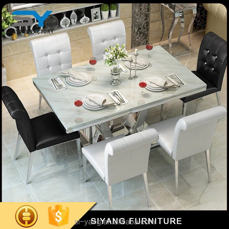 glass dining table coffee modern table with marble top CT010