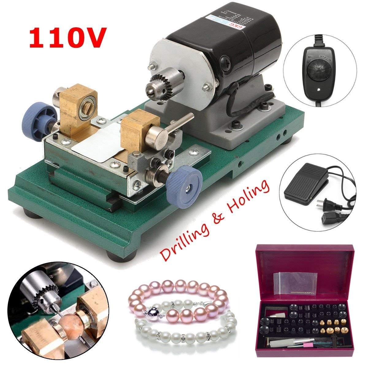 Adoner 200W Full Set Jewelry Pearl Stepless Drilling Holing Machine Driller Tools USA