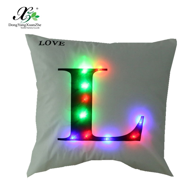 High quality sofa LED pillowcase different letters lights pillow cover