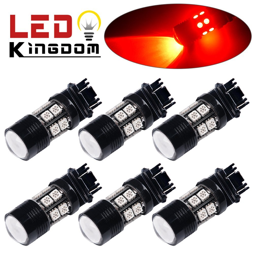 LEDKINGDOMUS 6 X 3157 3156 5050 Chip High Power 7W Cree LED Red Projector Brake Tail Stop Lights Bulb