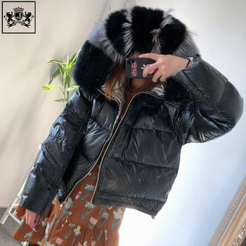 2019 new ladies winter down feather coat with hood big real fur collar overcoat women
