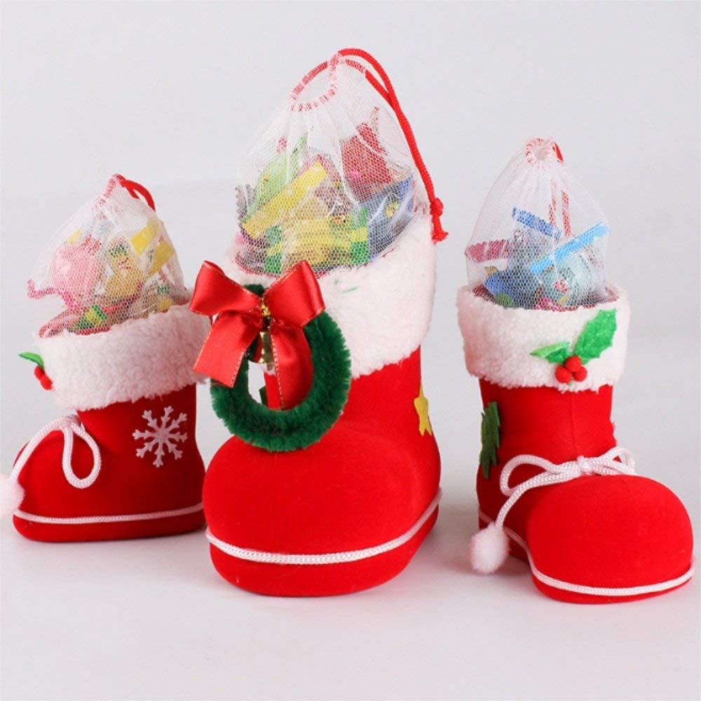 Longpro Holiday Theme Sack Christmas Bag Christmas Ornaments Christmas Gifts Christmas Candy Bag Candy Boots for Christmas Tree Decorations Carry Gifts Candies Home Decoration Assorted Sizes Set of 3