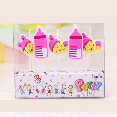Pink blue Baby girl boy bottles happy birthday cake candles topper