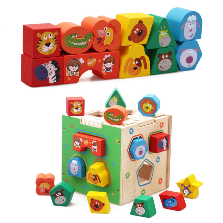 Toddlers 1 2 3 Year Olds Educational Games Cartoon Geometric Shape Sorter Box Wooden Intelligence Box