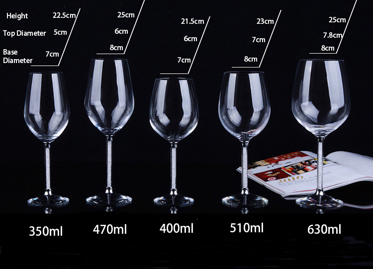 2pcs 510ml Luxury Party Toasting Glasses Wedding Goblet  Wine Glasses With Crystal Rhinestones Design In Gift Box