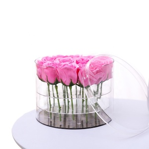 custom clear plastic round hat boxes acrylic flower box with lid