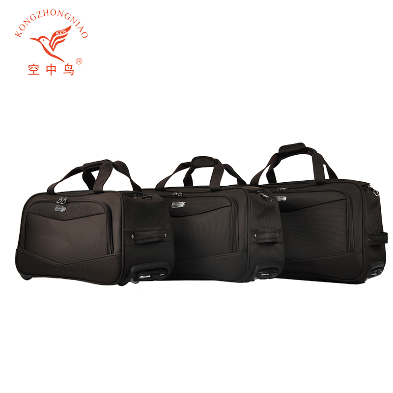 high quality fashion style nylon material two wheels trolley duffle bag