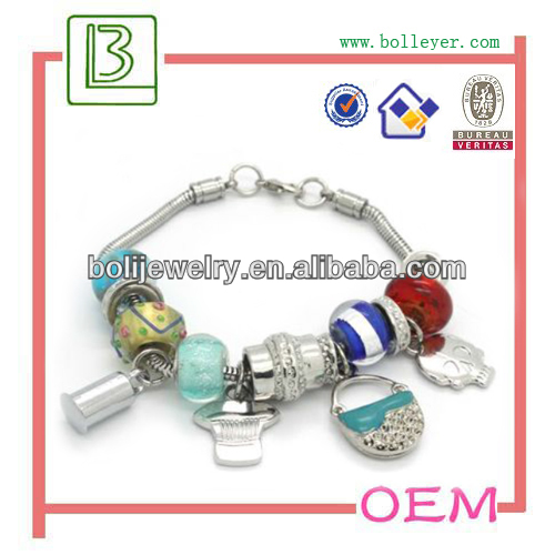 silver bangle with murano glass charms silver beads