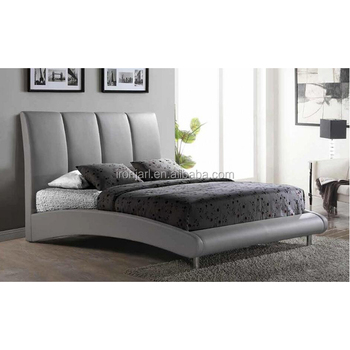 Modern Design Upholstered Super King Size Faux Leather Platform Bed