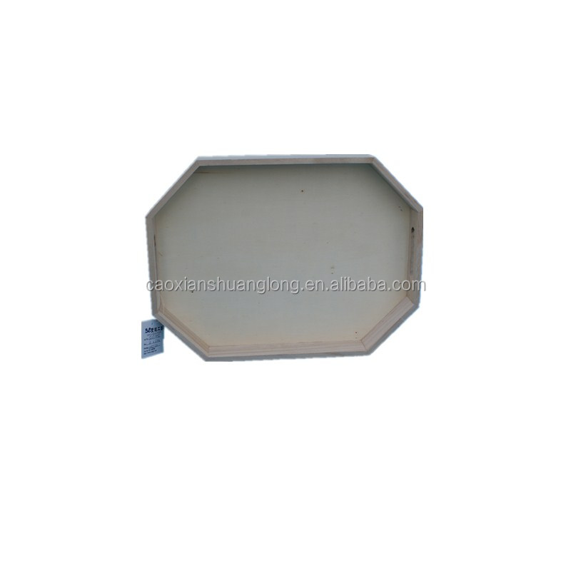 Rounded shape wooden tray with natural color