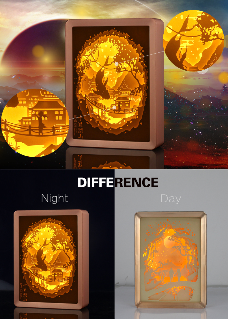 High Quality Cheap Night Light Frame Deep Shadow Box Picture Frame