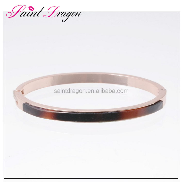 Bulk custom simple design jewelry rose gold resin stainless steel women bangle bracelet