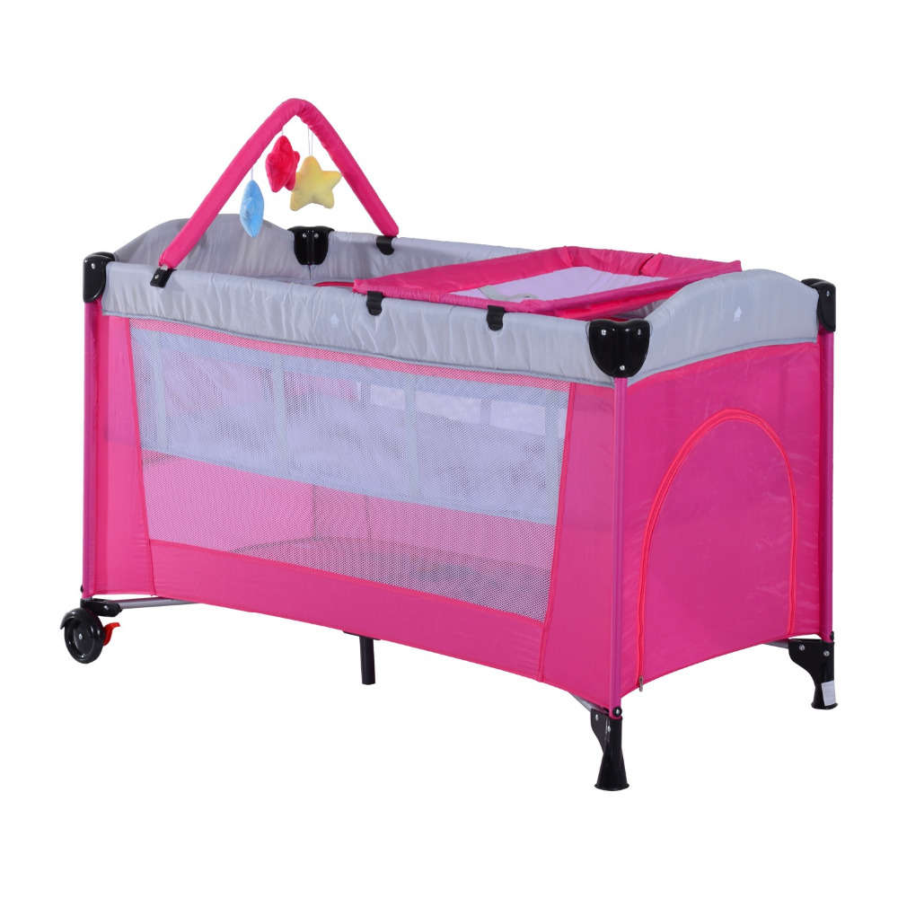 Portable Baby Cribs, Baby Travel Cots with Wheels