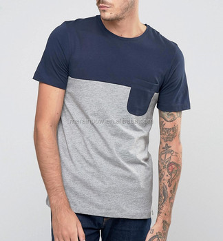 New Design Mens Two Tone Pocket T Shirt Fashion Colorblock T Shirt Blank  100% Cotton 881d05a38bff