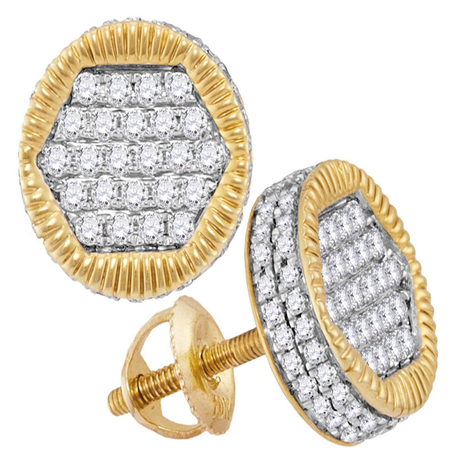 2b3301db5 Get Quotations · 10kt Yellow Gold Mens Round Diamond 3D Circle Cluster Stud  Earrings 3/4 Cttw