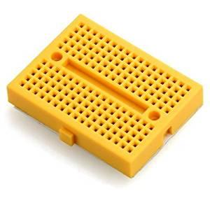 Puuli 2 Pcs/lot Yellow Mini ABS Plastic Solderless Prototype Plug-in Breadboard Bread Board 170 Points for Arduino Shield, 45.5x34.5x9.5mm