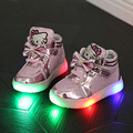 2016 Autumn Girls Fashion Cartoon Cat Shoes with Light Children Princes Lace Led Sneakers Kids Bow