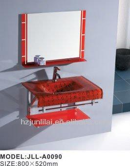 Red Glass Wash Basin Bathroom Mirror And